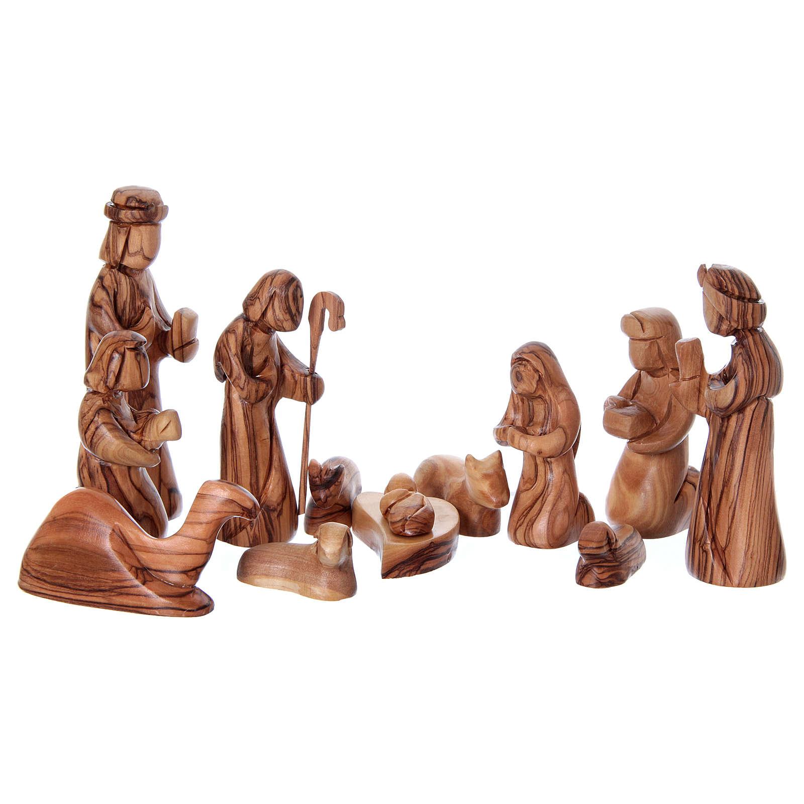 Capanna con presepe in ulivo di Betlemme stilizzato 20x25x20 cm 4