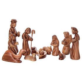Capanna con presepe in ulivo di Betlemme stilizzato 20x25x20 cm s2
