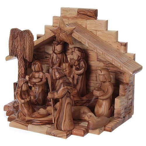 Capanna con presepe in ulivo di Betlemme stilizzato 20x25x20 cm 3