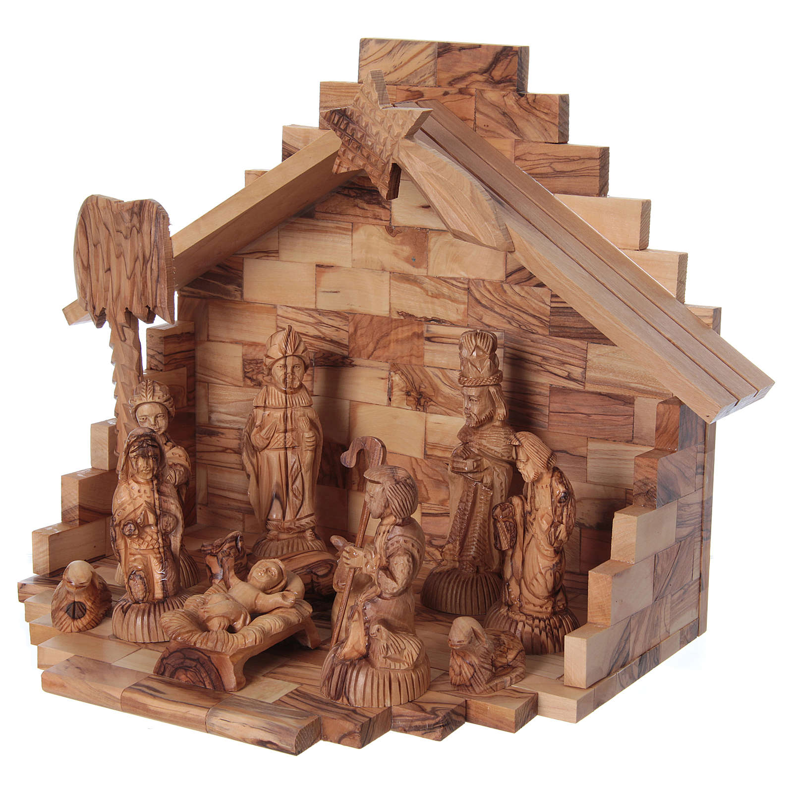 Portal Belén de Navidad con Nacimiento Completo Madera de Olivo de Belén 25 x 30 x 20 cm 4