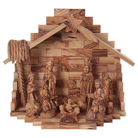 Portal Belén de Navidad con Nacimiento Completo Madera de Olivo de Belén 25 x 30 x 20 cm s1