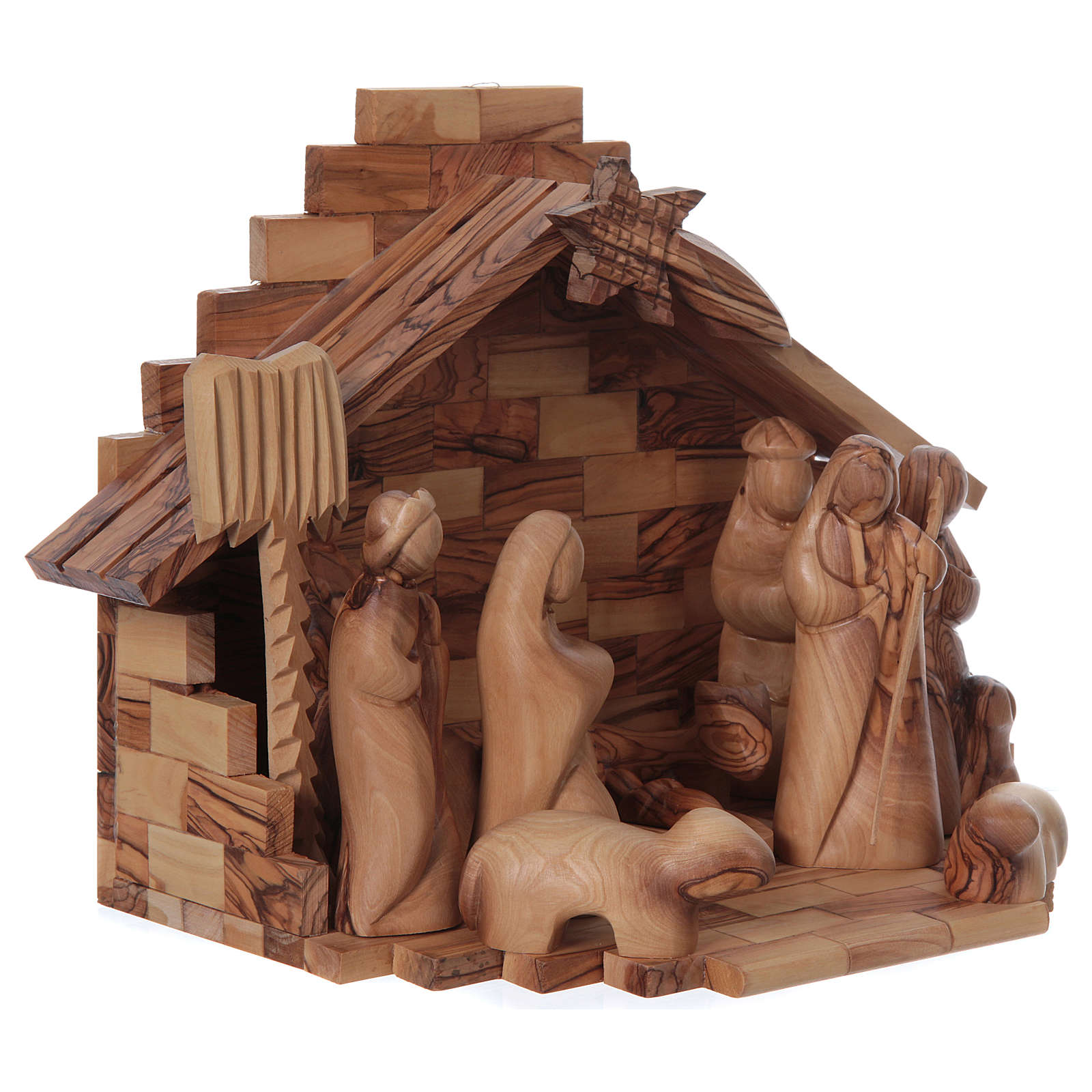 Capanna ulivo di Betlemme con set presepe stilizzato 12 cm 4