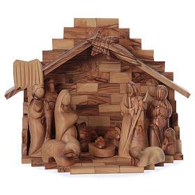 Capanna ulivo di Betlemme con set presepe stilizzato 12 cm s1