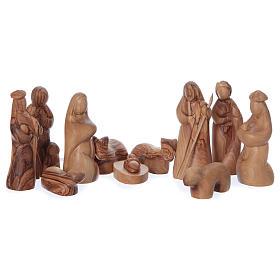 Capanna ulivo di Betlemme con set presepe stilizzato 12 cm s2