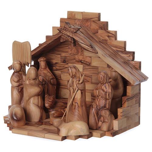 Capanna ulivo di Betlemme con set presepe stilizzato 12 cm 3