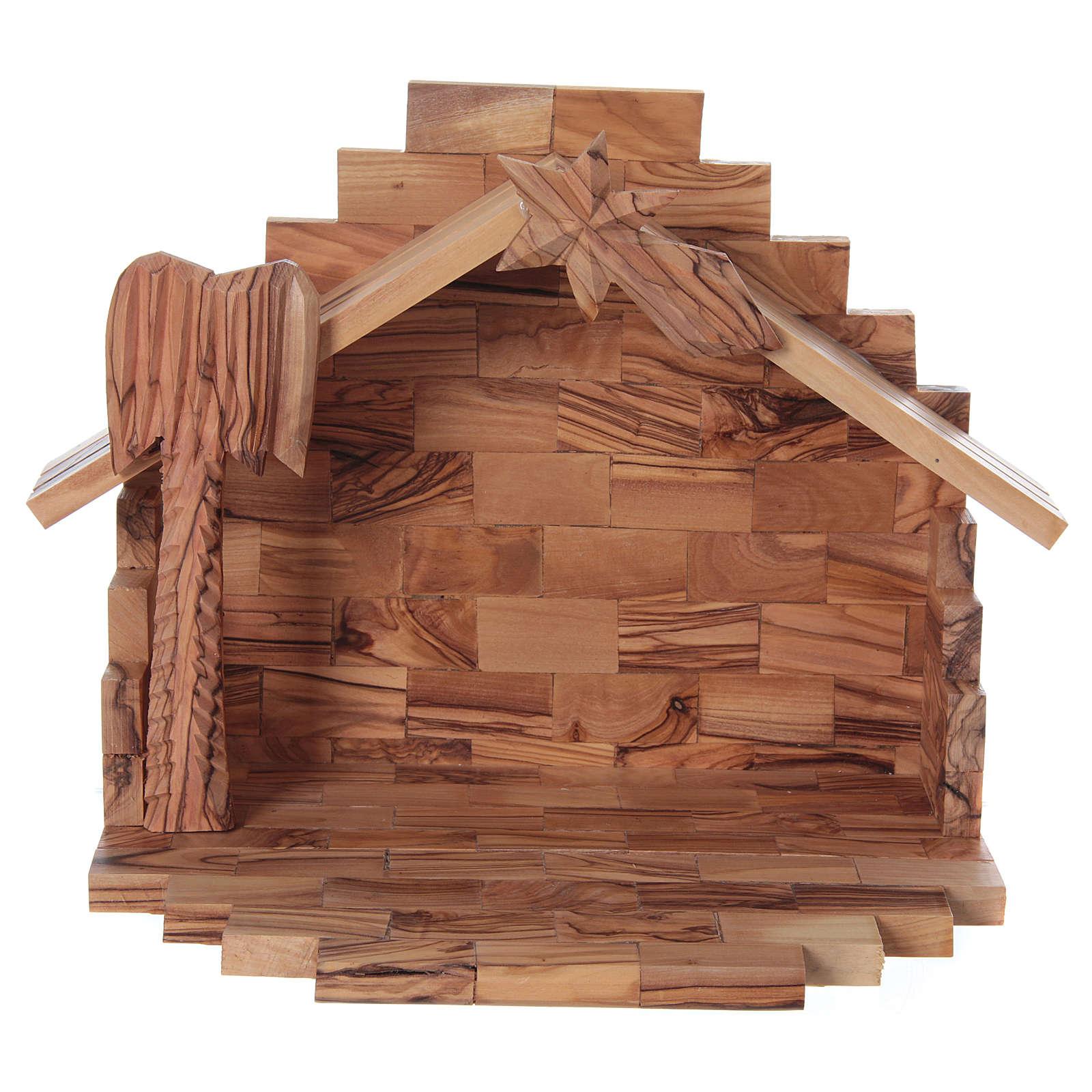 Maisonnette en olivier Bethléem avec set crèche stylisée 20x25x15 cm 4
