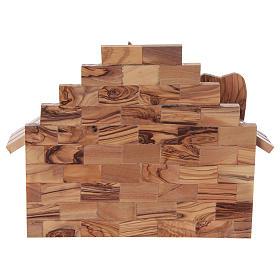 Maisonnette en olivier Bethléem avec set crèche stylisée 20x25x15 cm s6