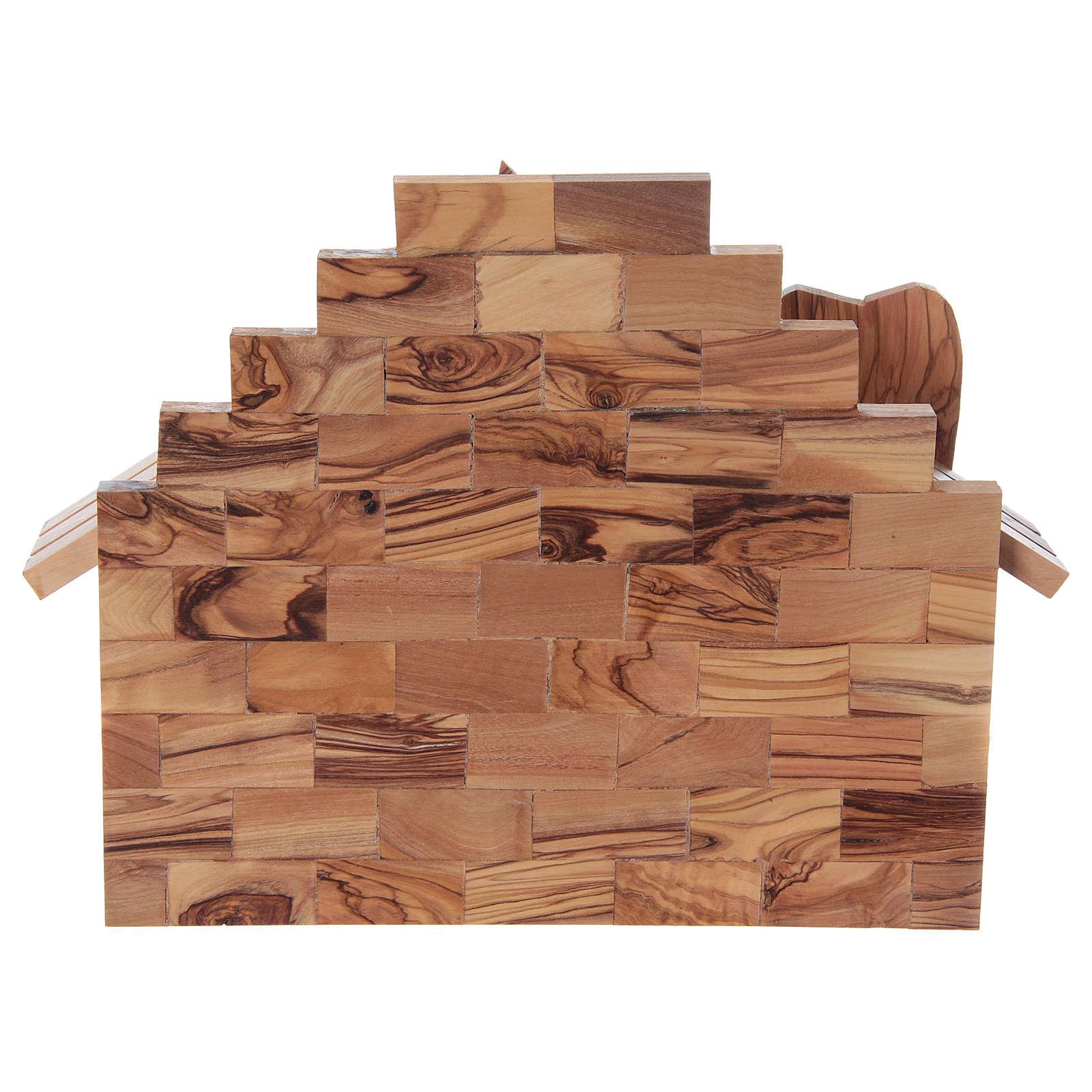 Casetta in ulivo Betlemme con set presepe stilizzato 20x25x15 cm 4