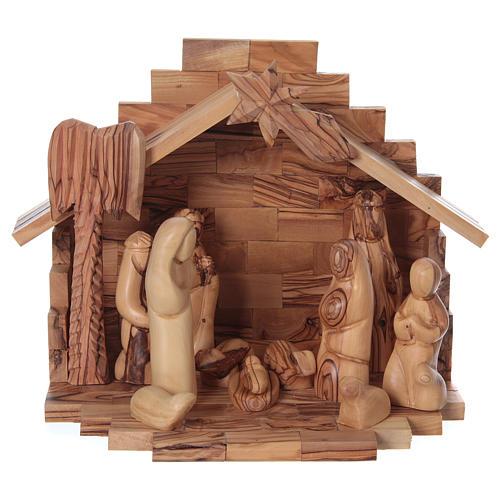 Casetta in ulivo Betlemme con set presepe stilizzato 20x25x15 cm 1