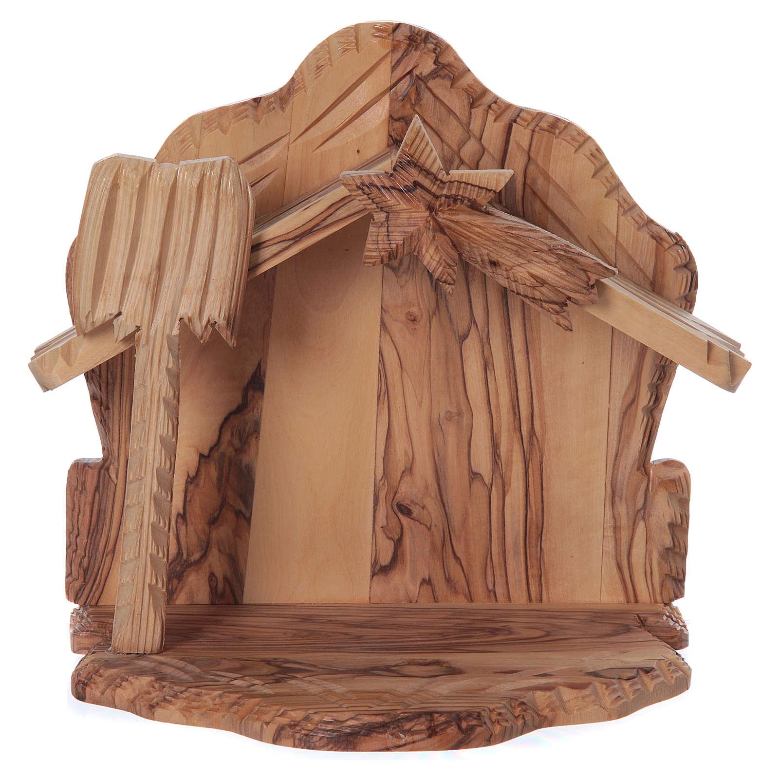 Maisonnette en olivier Bethléem avec crèche complète stylisée 20x20x15 cm 4