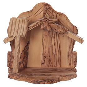 Maisonnette en olivier Bethléem avec crèche complète stylisée 20x20x15 cm s5