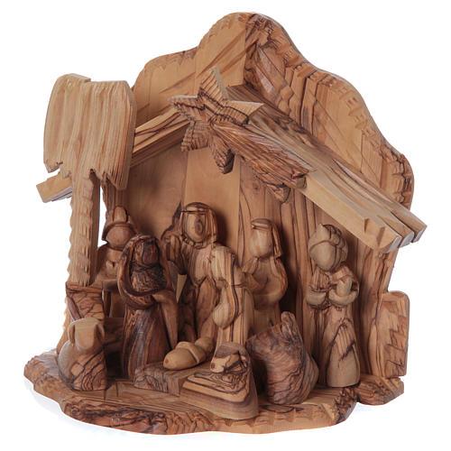 Maisonnette en olivier Bethléem avec crèche complète stylisée 20x20x15 cm 3