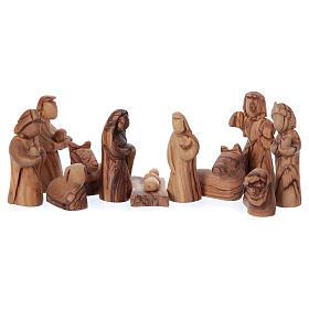 Casetta in ulivo Betlemme con presepe completo stilizzato 20x20x15 cm s2