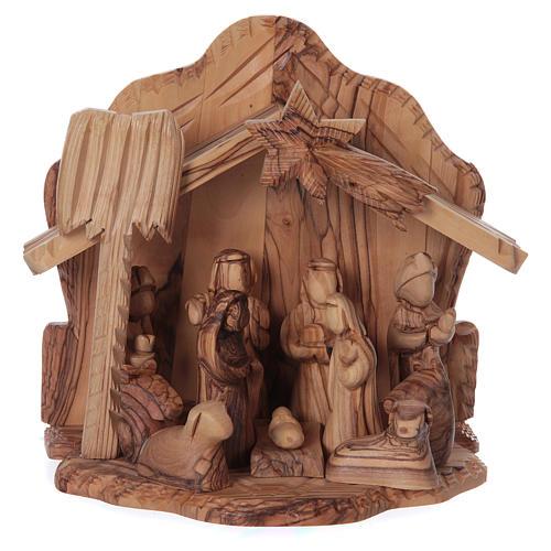 Casetta in ulivo Betlemme con presepe completo stilizzato 20x20x15 cm 1