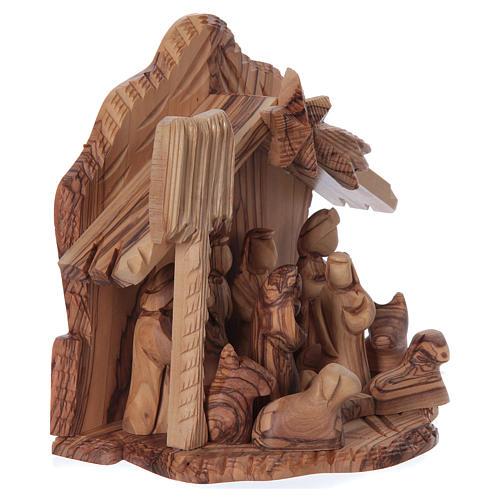 Casetta in ulivo Betlemme con presepe completo stilizzato 20x20x15 cm 4