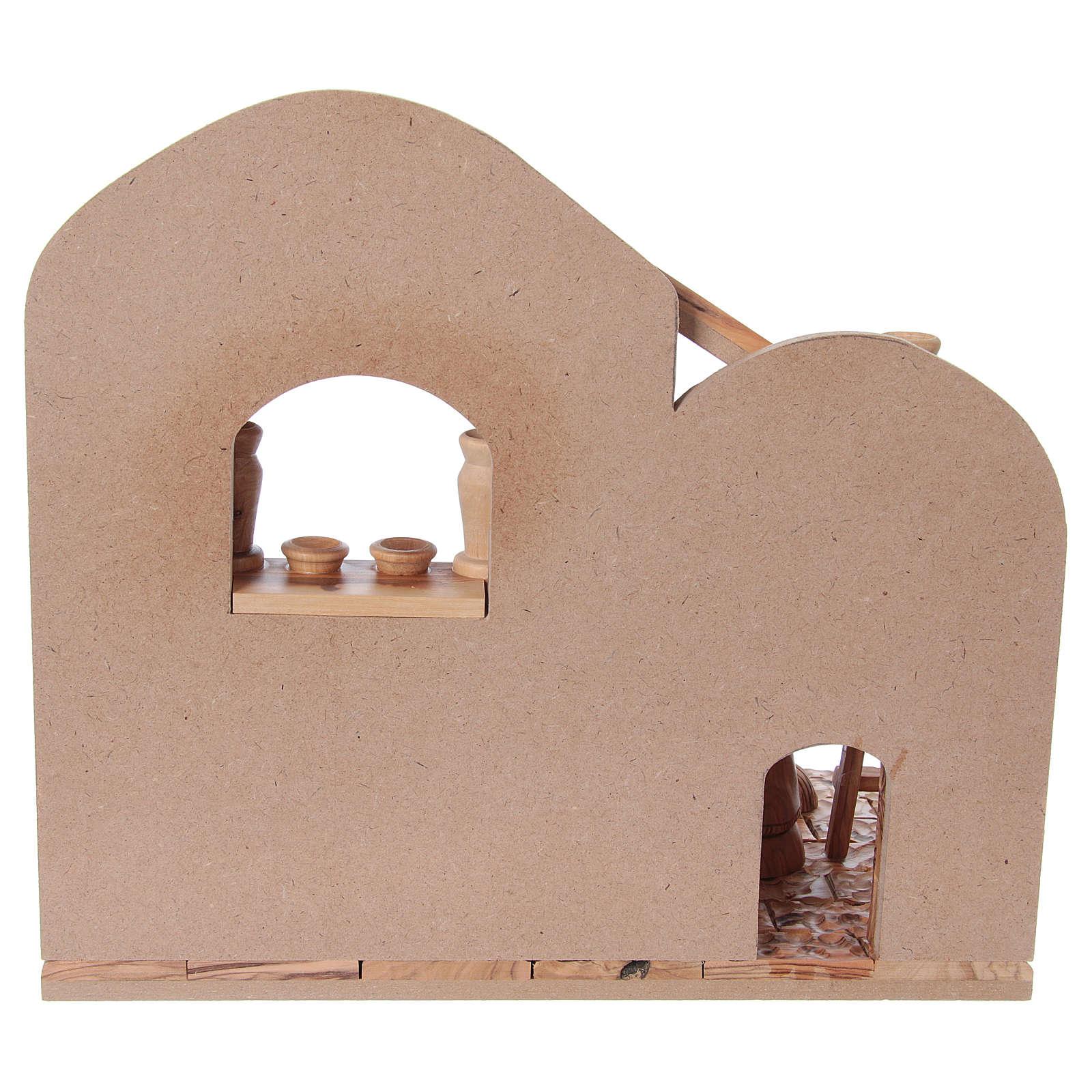 Presepe completo in ulivo di Betlemme 12 cm con casetta 30x35x25 cm 4