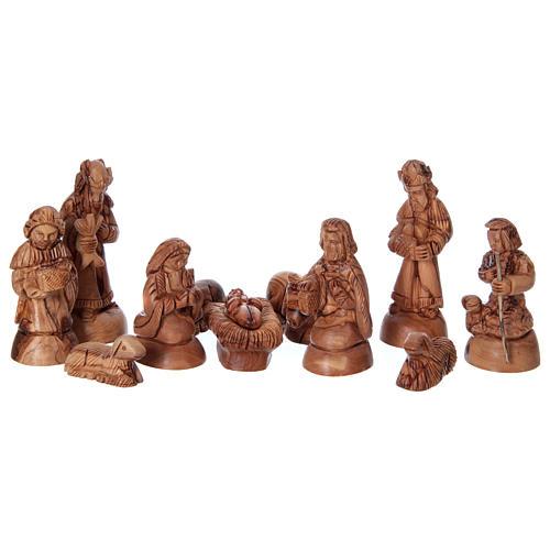 Presepe completo in ulivo di Betlemme 12 cm con casetta 30x35x25 cm 2