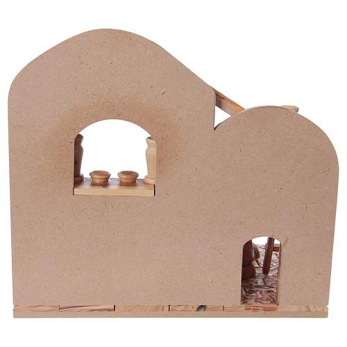 Presepe completo in ulivo di Betlemme 12 cm con casetta 30x35x25 cm 6