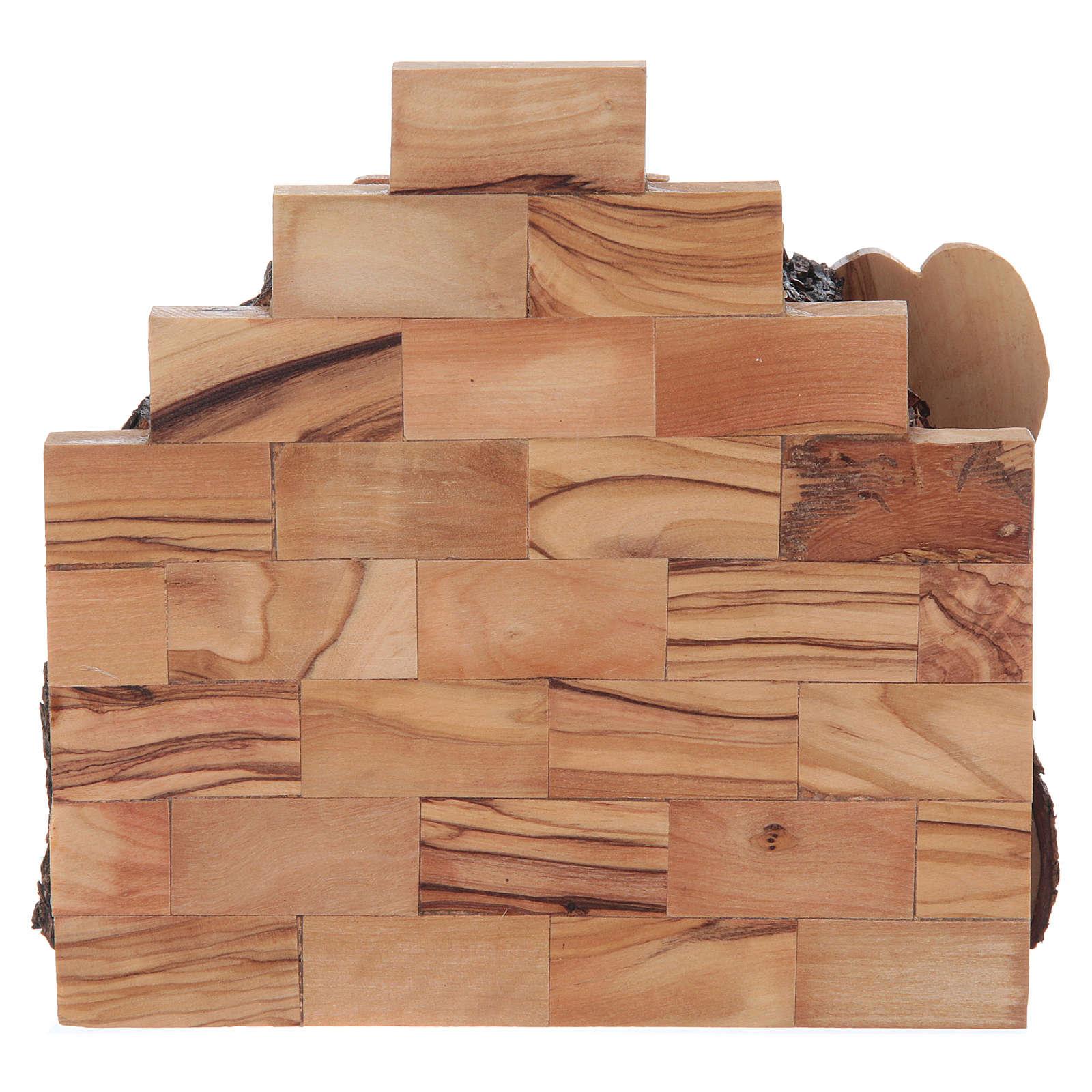 Natividad de madera olivo de Belén con cabaña 15x15x10 cm 4