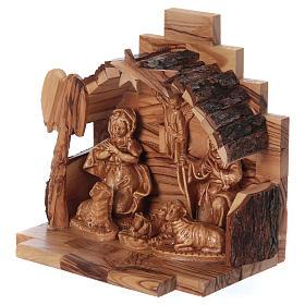 Nativité en bois olivier de Bethléem avec cabane 15x15x10 cm s2