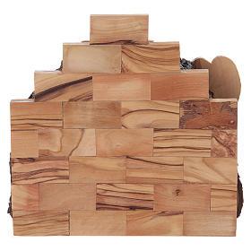 Nativité en bois olivier de Bethléem avec cabane 15x15x10 cm s4