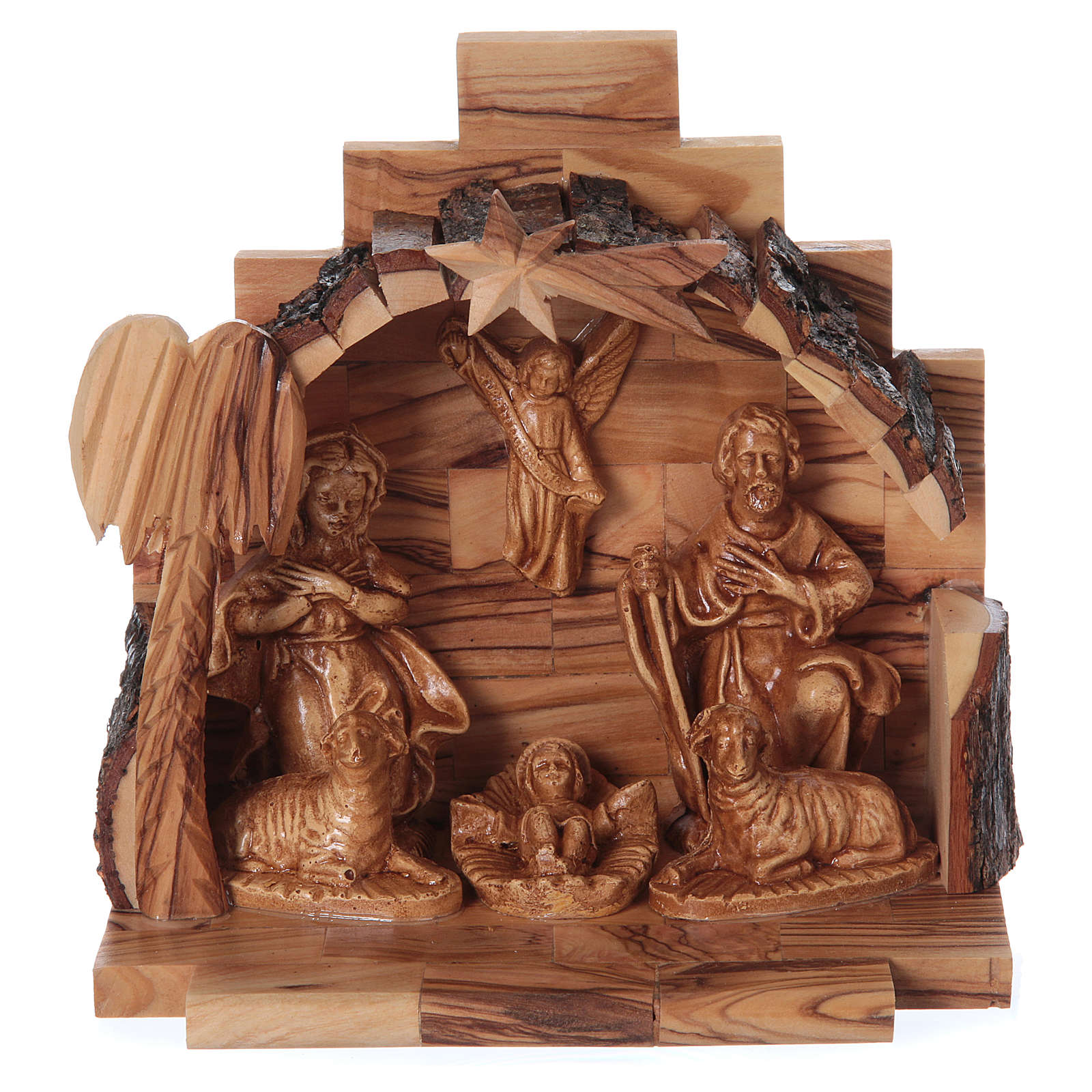 Natività in legno ulivo di Betlemme con capanna 15x15x10 cm 4