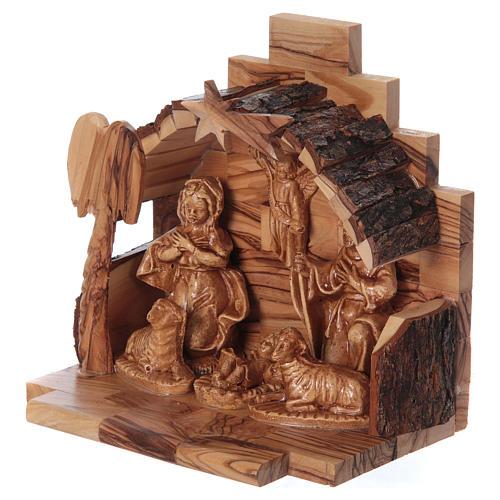 Natività in legno ulivo di Betlemme con capanna 15x15x10 cm 2