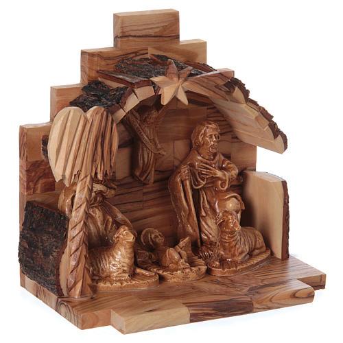 Natività in legno ulivo di Betlemme con capanna 15x15x10 cm 3
