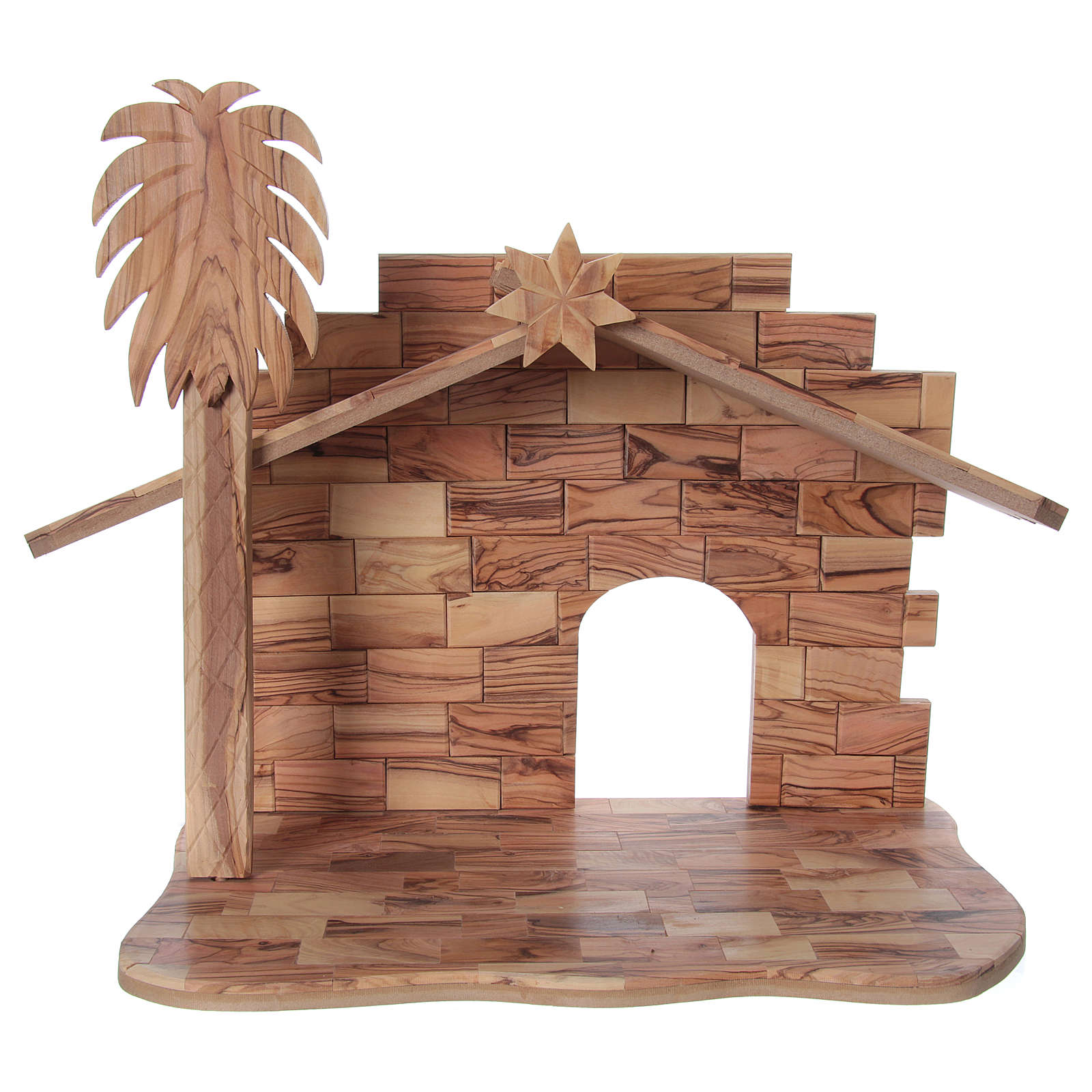 Nativity Scene in Olive Wood with hut 22 cm, 31x 41x24 cm 4