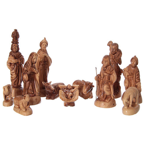 Nativity Scene in Olive Wood with hut 22 cm, 31x 41x24 cm 2