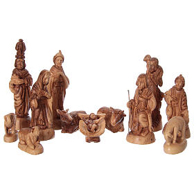 22 cm Entire Nativity Scene Olive wood from Bethlehem with Stable 30x40x25 s2