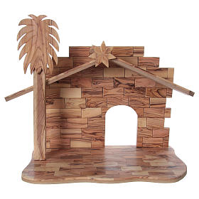 22 cm Entire Nativity Scene Olive wood from Bethlehem with Stable 30x40x25 s5