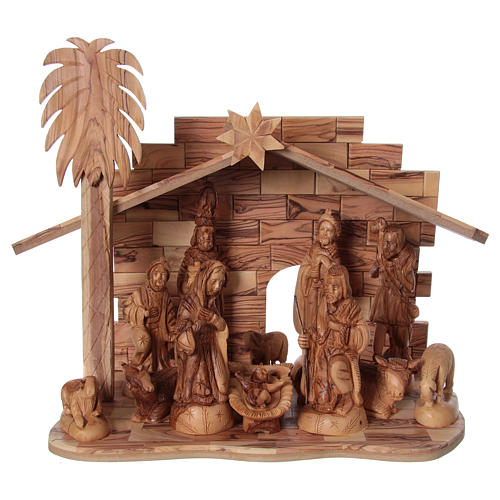 22 cm Entire Nativity Scene Olive wood from Bethlehem with Stable 30x40x25 1