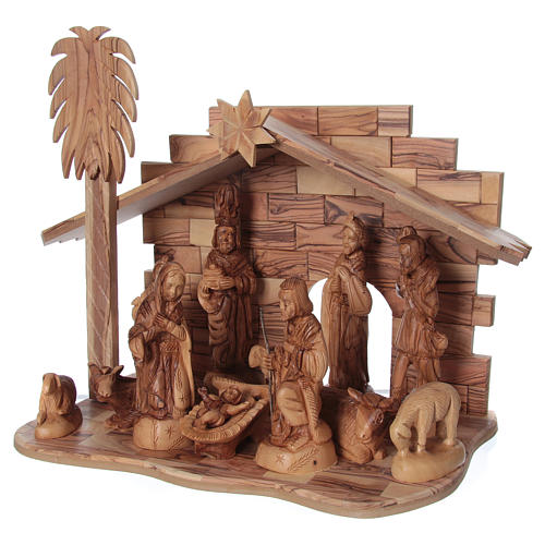 22 cm Entire Nativity Scene Olive wood from Bethlehem with Stable 30x40x25 3