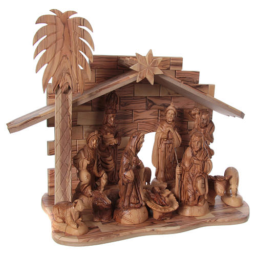 22 cm Entire Nativity Scene Olive wood from Bethlehem with Stable 30x40x25 4