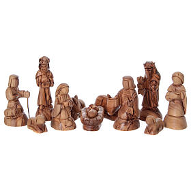 Stylised Olive Wood Nativity Scene from Bethlehem 13 cm with Stable 24.5 x26.5x 16.5 cm s2