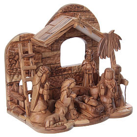 Stylised Olive Wood Nativity Scene from Bethlehem 13 cm with Stable 24.5 x26.5x 16.5 cm s4