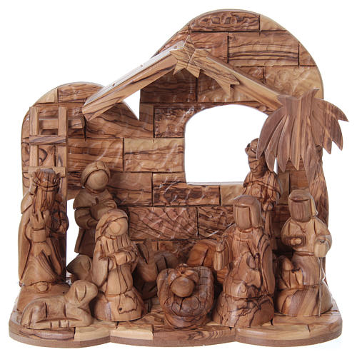 Stylised Olive Wood Nativity Scene from Bethlehem 13 cm with Stable 24.5 x26.5x 16.5 cm 1