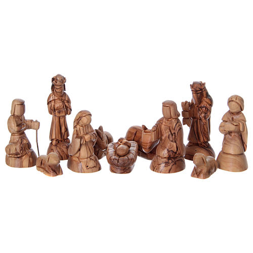 Stylised Olive Wood Nativity Scene from Bethlehem 13 cm with Stable 24.5 x26.5x 16.5 cm 2