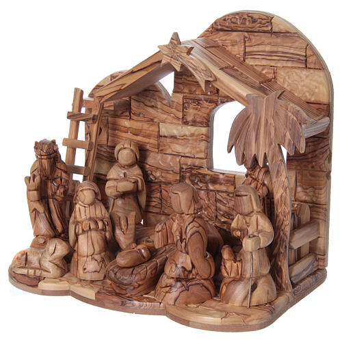 Stylised Olive Wood Nativity Scene from Bethlehem 13 cm with Stable 24.5 x26.5x 16.5 cm 3