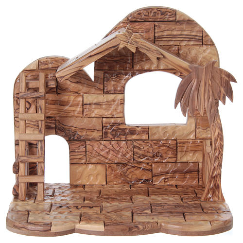 Stylised Olive Wood Nativity Scene from Bethlehem 13 cm with Stable 24.5 x26.5x 16.5 cm 5