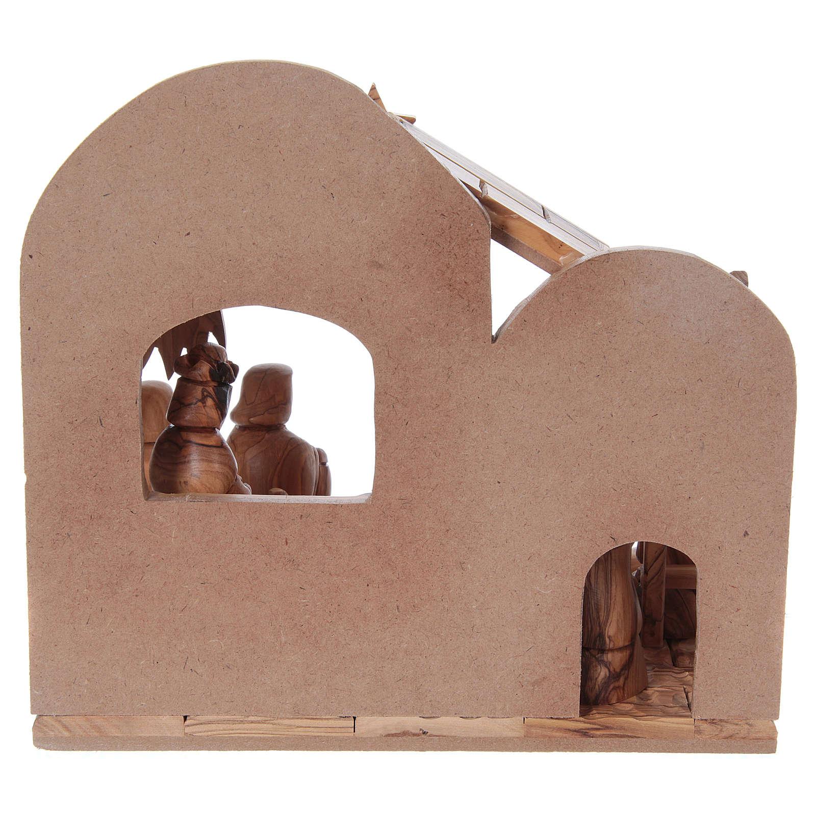 Crèche stylisée olivier de Bethléem 13 cm avec cabane 25x25x15 cm 4