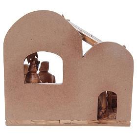 Crèche stylisée olivier de Bethléem 13 cm avec cabane 25x25x15 cm s6