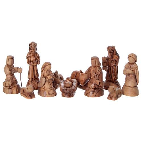 Presepe stilizzato ulivo di Betlemme 13 cm con capanna 25x25x15 cm 2
