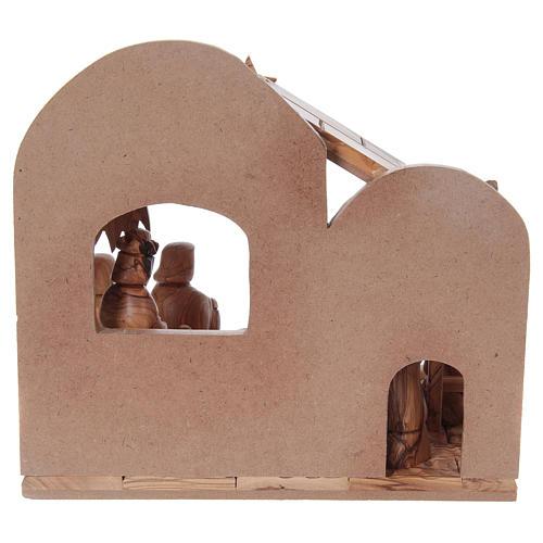 Presepe stilizzato ulivo di Betlemme 13 cm con capanna 25x25x15 cm 6