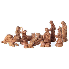 Nativity Olive wood from Bethlehem in natural stable 25x40x20 cm s2