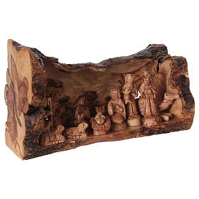 Nativity Olive wood from Bethlehem in natural stable 25x40x20 cm s4