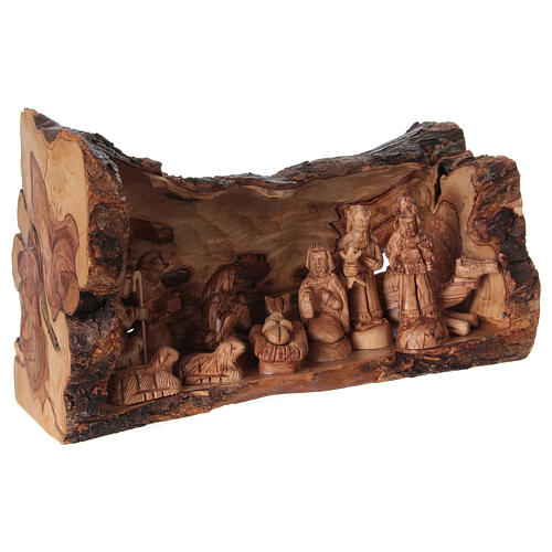 Nativity Olive wood from Bethlehem in natural stable 25x40x20 cm 4