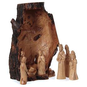 Belén completo olivo de Belén 21 cm en cueva natural 45x30x30 cm s4