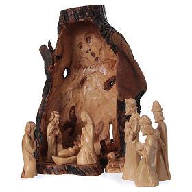Presepe completo ulivo di Betlemme 21 cm in grotta naturale 45x30x30 cm s1